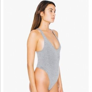 🔺5 FOR $20🔻 Gray American Appare Thong Bodysuit